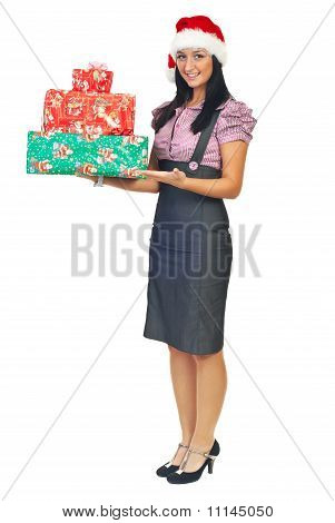 Business Woman Holding Gifts