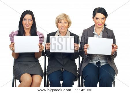 Business Women Team Showing Blank Pages