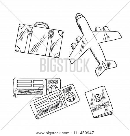 Travel icons with plane, bag, tickets and passport