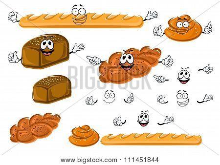 Baguette, rye bread, cinnamon roll and bun