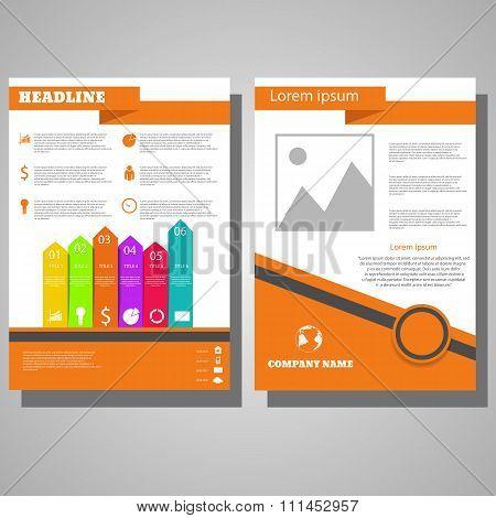 Brochure Flyer Design Layout Template.infographic  Orange Bg  Eps 10