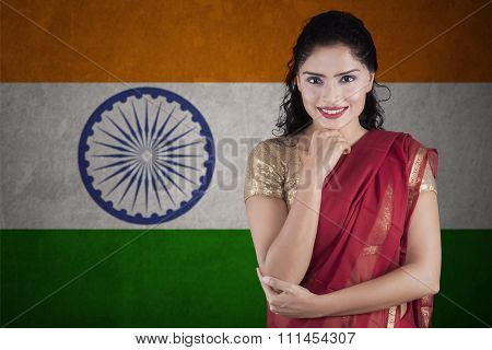 Beautiful Indian Woman With Flag Of India