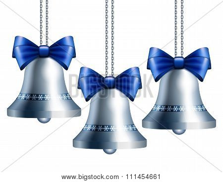Silver bells with blue ribbon.