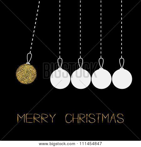 Five Hanging Christmas Balls. Dash Line. White And Gold Glitter. Perpetual Motion. Black Background.