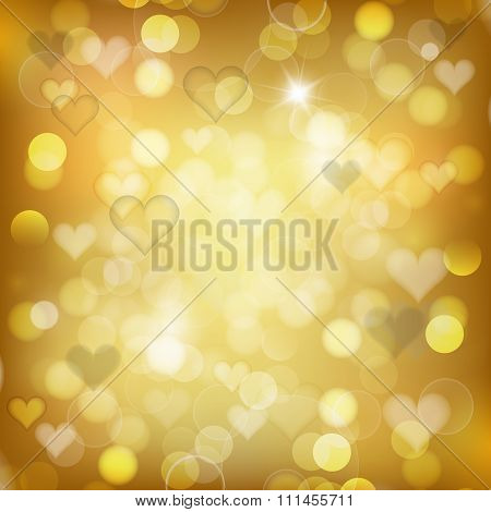 Gold Background With Hearts