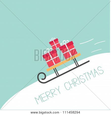 Sleigh With Gift Boxes Rolling Downhill Blue Background. Merry Christmas Greeting Card Flat Design