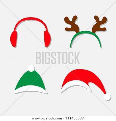 Christmas Hat Set. Antlers Of A Deer Red Headphones Isolated White Background Flat Design
