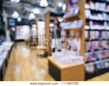 Blur Bookstore Interior With Book Shelf And Display