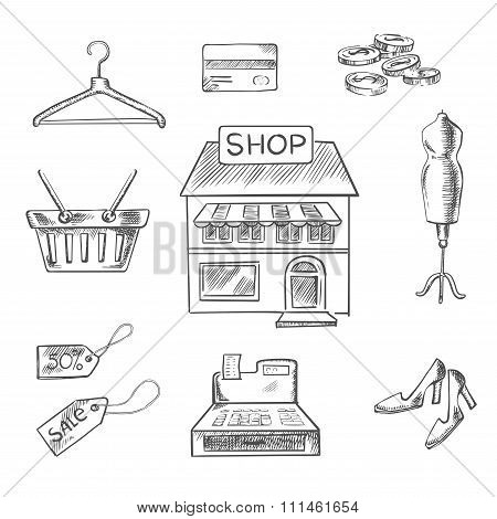 Shopping and retail sketch icons