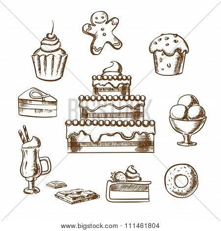 Sweet desserts icons with cake and pastry