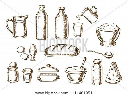 Bakery and bread ingredients sketches