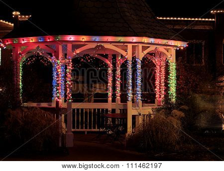 Gazebo Decorated for Winter Holidays