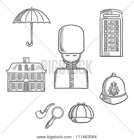 United Kingdom travel sketched icons