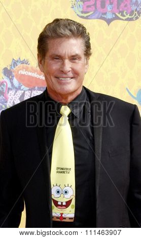 David Hasselhoff at the Nickelodeon's 27th Annual Kids' Choice Awards held at the USC Galen Center in Los Angeles on March 29, 2014 in Los Angeles, California.