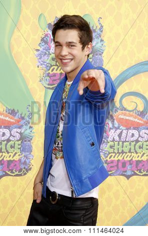 Austin Mahone at the Nickelodeon's 27th Annual Kids' Choice Awards held at the USC Galen Center in Los Angeles on March 29, 2014 in Los Angeles, California.