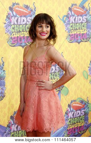 Lea Michele at the Nickelodeon's 27th Annual Kids' Choice Awards held at the USC Galen Center in Los Angeles on March 29, 2014 in Los Angeles, California.