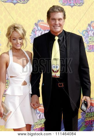 Hayley Roberts and David Hasselhoff at the Nickelodeon's 27th Annual Kids' Choice Awards held at the USC Galen Center in Los Angeles on March 29, 2014 in Los Angeles, California.