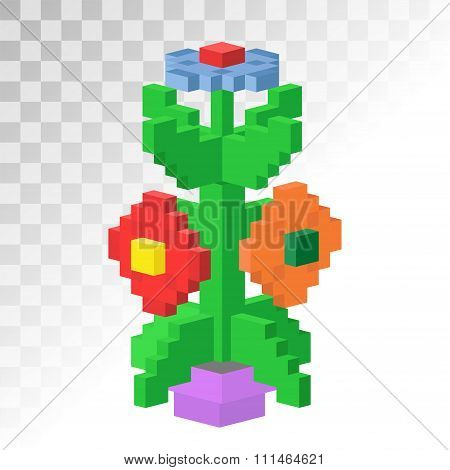 Isometric vew flower stable pixel art vector icon