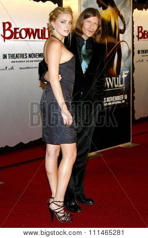 Amber Heard and Cripin Glover attend the Los Angeles Premiere of