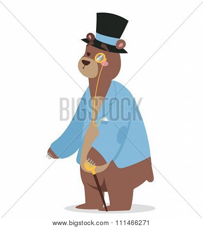 Cartoon bear business man vector portrait illustration on background