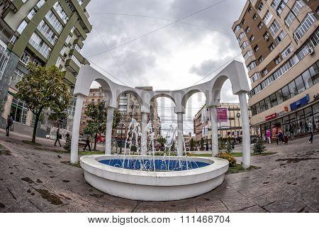 TARGU-JIU, ROMANIA-OCTOBER 08: Fountain in the downtown area