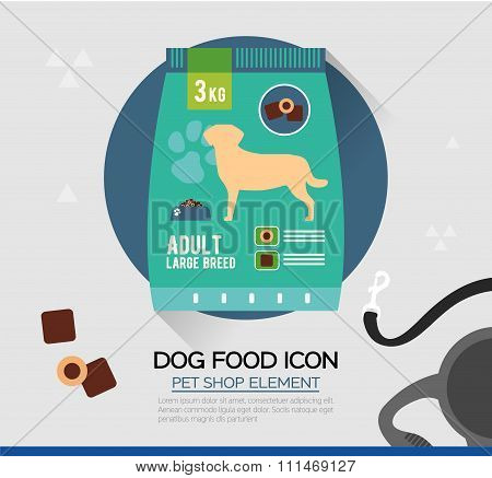 Vector icon of dog dry food. Illustration of pet snack in pouches. In Flat style.