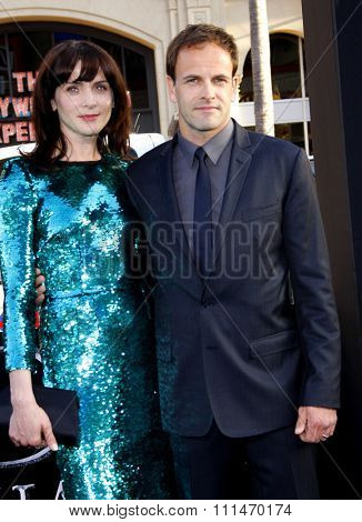 Michele Hicks and Jonny Lee Miller at the Los Angeles premiere of 'Dark Shadows' held at the Grauman's Chinese Theatre in Hollywood on May 7, 2012.