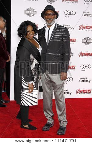 Samuel L. Jackson and LaTanya Richardson at the World premiere of Marvel's 'Avengers: Age Of Ultron' held at the Dolby Theatre in Hollywood, USA on April 13, 2015.