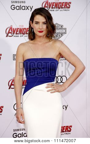 Cobie Smulders at the World premiere of Marvel's 'Avengers: Age Of Ultron' held at the Dolby Theatre in Hollywood, USA on April 13, 2015.