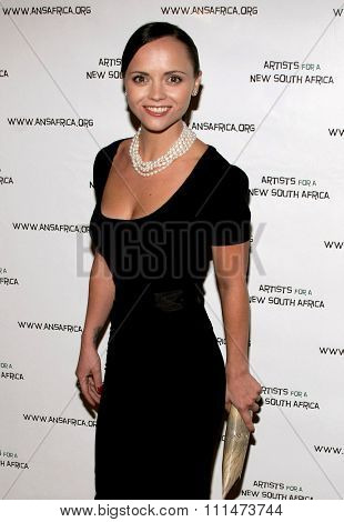 Christina Ricci attends the Archbishop Desmond Tutu's 75th Birthday Celebration held at the Regent Beverly Wilshire Hotel in Beverly Hills, California on September 18, 2006.