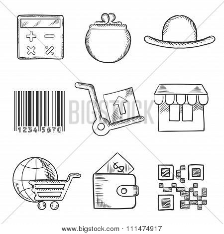Set of retail and shopping sketch icons