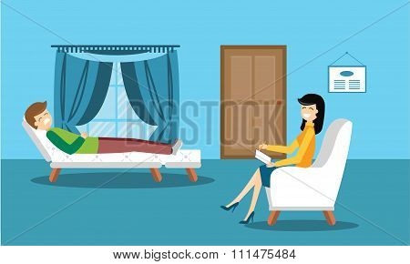 Psychologist office cabinet room vector illustration