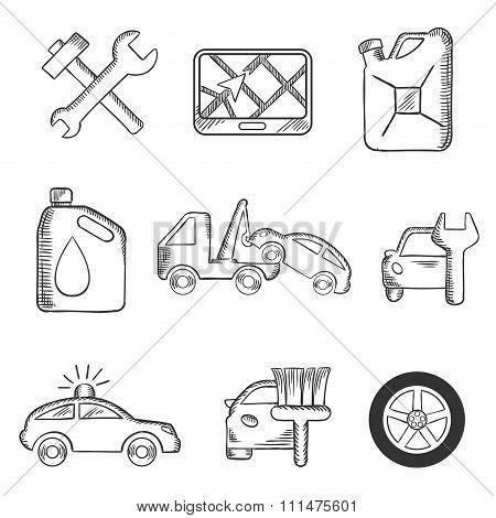 Car service sketch icons set