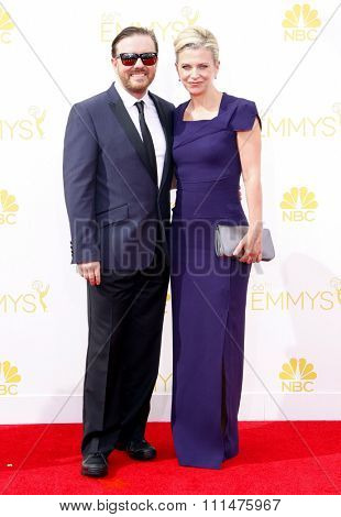 Jane Fallon and Ricky Gervais at the 66th Annual Primetime Emmy Awards held at the Nokia Theatre L.A. Live in Los Angeles on August 25, 2014 in Los Angeles, California.