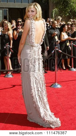 Sarah Chalke attends the 59th Annual Primetime Emmy Awards held at the Shrine Auditorium in Los Angeles, California, United States on September 16, 2007.