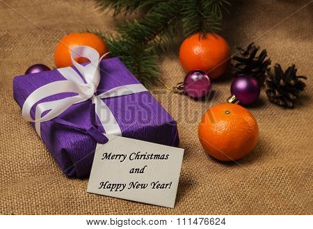 Tag Merry Christmas And Happy New Year, Gift, Postcard