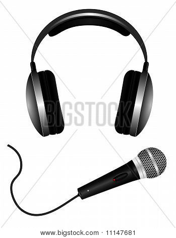 A set of microphones and headphones