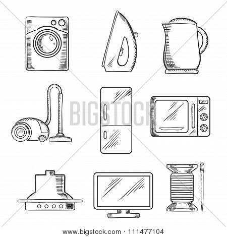 Kitchen and home appliance sketched icons