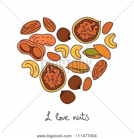 Nuts icons in the shape of a heart