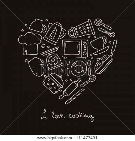 Kitchen icon in the shape of a heart
