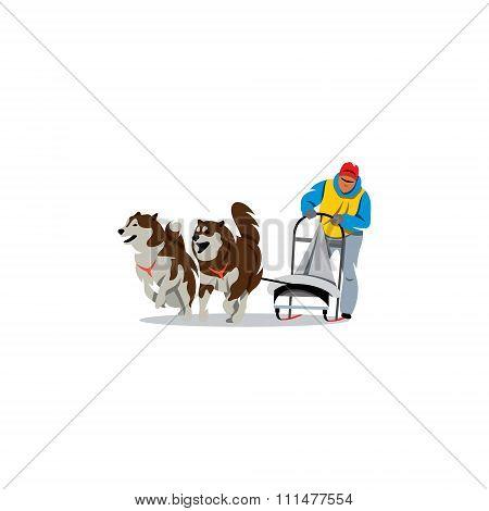 Sled dog racing. Vector Illustration.