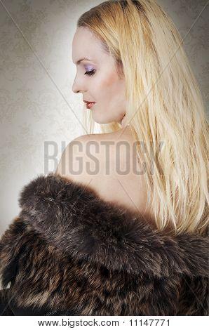 Fashion Portrait Of Model Woman In Fur