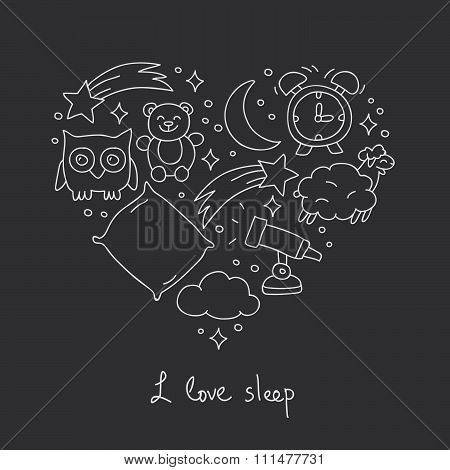 Sleep. Icons in the shape of a heart
