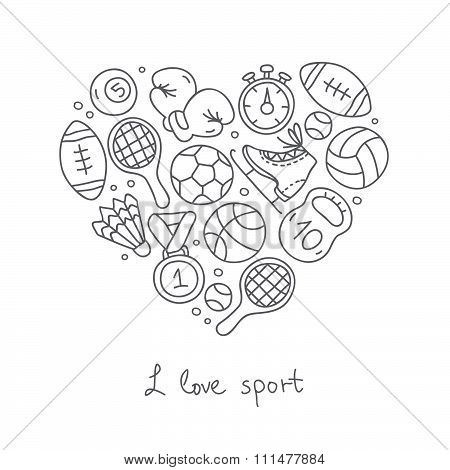 Sport. Icons in the shape of a heart