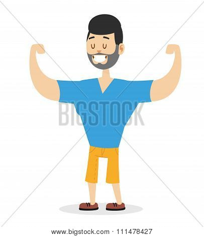Teen power strong man illustration on white background