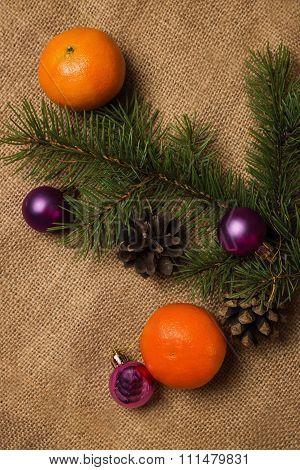 Orange Tangerines, Fir-cones, Christmas Decorations
