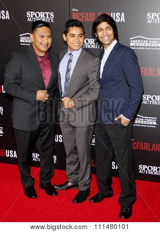 Ramiro Rodriguez, Rafael Martinez and Michael Aguero at the Los Angeles premiere of 'McFarland, USA' held at the El Capitan Theater in Hollywood on February 9, 2015.