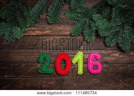 2016 Made Of Felt And Christmas Tree. Childish New Year Background With Christmas Toy From Felt On D