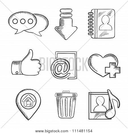 Multimedia and social media sketched icons