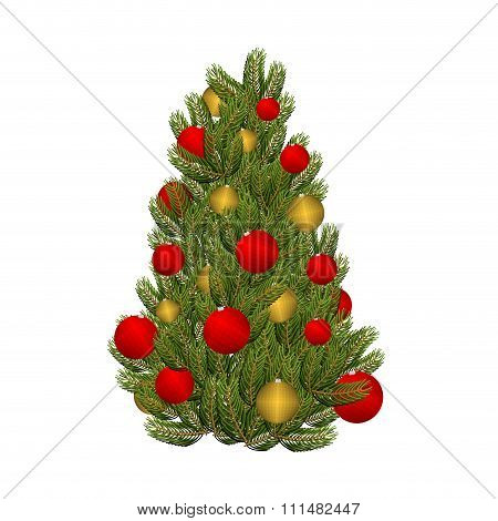 Christmas Tree And Toys. Decorated Christmas Tree For  Holiday. Red And Gold Ornament Balls. Tree Fo